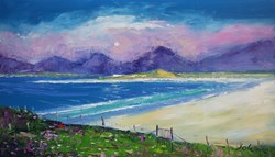 Gate To Luskentyre Beach Isle Of Harris by John Lowrie Morrison - Original Painting on Stretched Canvas sized 24x14 inches. Available from Whitewall Galleries
